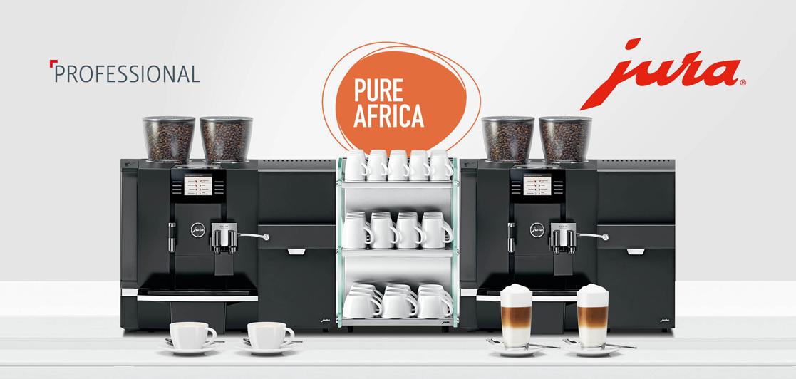 Een Jura koffiemachine op kantoor met Pure Africa koffie