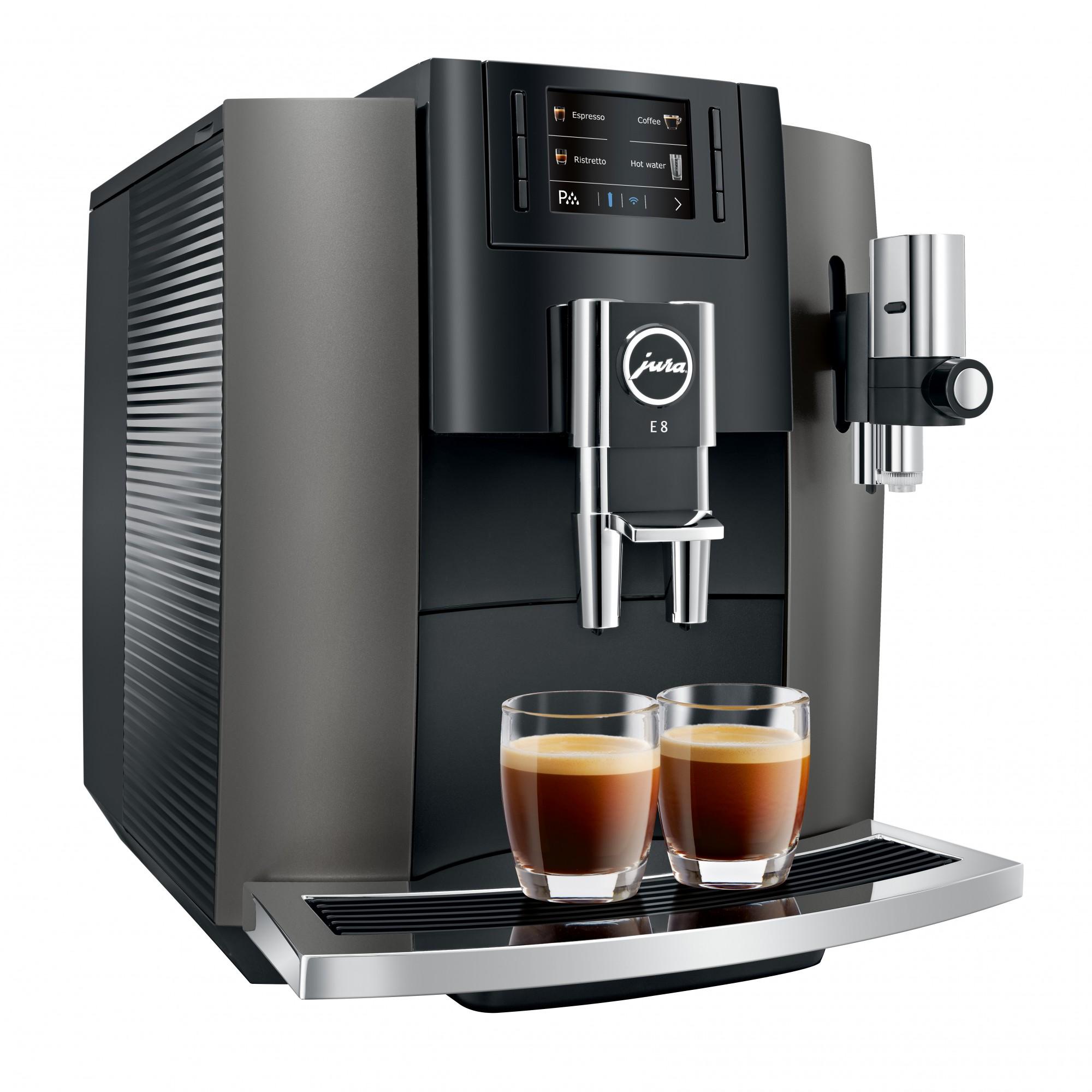 Met de nieuwe Jura E8 Dark Inox maak je meer koffie specialiteiten
