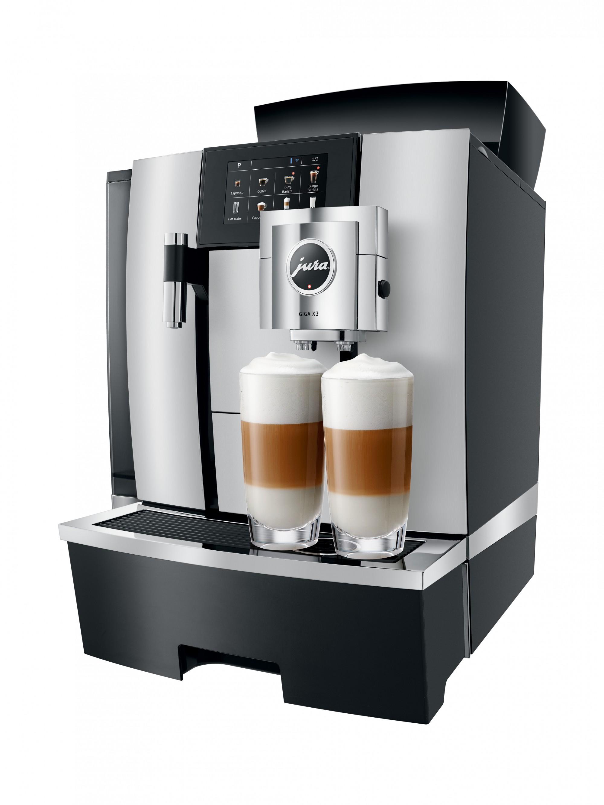 Zakelijke koffiemachine met latte macchiato en cappuccino